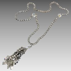 Rhinestone Necklace, Tassel Necklace, Weiss, Vintage Necklace, Silver, Long, Layer