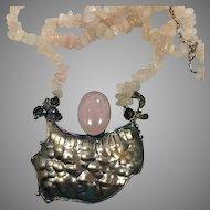 Rose Quartz Necklace, Vintage Necklace, Modern Necklace, Silver, Brutalist, Massive, Bib Necklace, Statement, Textured Metal, Big, Large