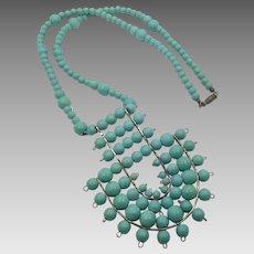 Turquoise Necklace, Big Statement, Boho, Vintage Necklace, 1970s, 70s, Massive, Oversized, Long Necklace, Unique, Bohemian