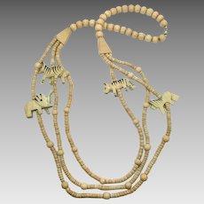 African Necklace, Animal Necklace, Vintage Necklace, Carved Wood, Long, Elephant, Tiger, Zebra, Wooden Beads, Ethnic Tribal, Chunky, Boho