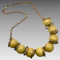 Yellow Necklace, Vintage Necklace, Bronze, Wooden Balls, 1980s, 80, Retro Necklace, Kitschy, Chunky, Massive, Statement Necklace