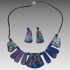 Boho Necklace, Earring Set, Vintage Necklace, Vintage Earrings, Painted Wood, Navy Blue, Pierced Earrings, Geometric Pattern, Ethnic Tribal