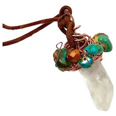 Quartz Crystal Necklace, Turquoise , Leather Necklace, Copper, Crystal Point, Minimalist, Long, Adjustable, Wire Wrapped, Handcrafted