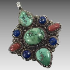 Turquoise Pendant, Blue Lapis, Carnelian, Vintage Pendant, Sterling Silver, Nepal, Tibet, Blue, Red, Chinese Turquoise, Mixed Stones