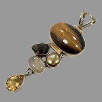 Mixed Stone Pendant, Large, Tiger Eye, Citrine, Sterling Silver, Aryo, Rutilated Quartz, Smoky Quartz, Vintage Pendant, Multi Stones