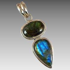 Labradorite Pendant, Sterling Silver, Vintage Pendant, Blue Stones, Two Stones, Sterling Pendant