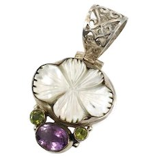 Shell Pendant, Amethyst, Peridot, Sterling Silver, Mother-of-Pearl, MOP, Flower Pendant, Purple, Green, Gemstones, Big Pendant, Carved Shell