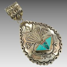 Turquoise Pendant, Sterling Silver, Vintage Pendant, Native American, Stamped, Chased, Spiny Oyster Shell, Inlaid, Inlay, Big, Huge, Large