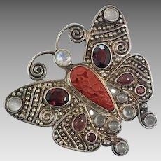 Butterfly Pendant, Carved Cinnabar, Sajen, Sterling Silver, Moonstone, Garnet, Tourmaline, Pin Brooch, Gemstone, Vintage Pendant, Designer
