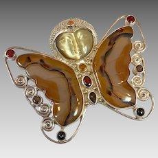 Butterfly Pendant, Garnet, Citrine, Agate, Sajen, Sterling Silver, Pin Brooch, Gemstone, Vintage Pendant, Designer