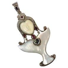 Goddess Pendant, Sterling Silver, MOP, Sajen Offerings, Vintage Pendant, Ruby, Garnet, Topaz, Big, Bali Princess, Carved Bone Face, Queen