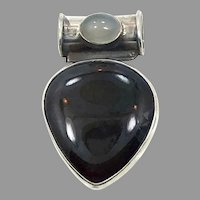 Black Onyx Pendant, Gray Moonstone, Sterling Silver, Vintage Pendant, Onyx Pendant, Modern, Contemporary, Black Stone