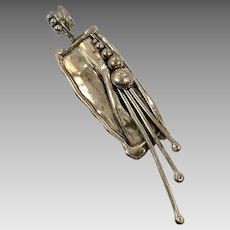 Brutalist Pendant, Sterling Silver, Vintage Pendant, Modern Pendant. Handcrafted, Contemporary, Artisan, Organic Texture, Unique, Unusual
