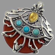 Carnelian Pendant, Citrine, Turquoise, Vintage Pendant, Sterling Silver, Unique, Unusual