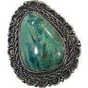 Eilat Chrysocolla, Solomon Stone, Sterling Silver, Pendant Brooch, Israel Pendant, Big Statement, Detailed, Boho Bohemian, Ornate Setting