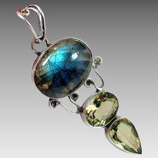 Labradorite Pendant, Citrine, Sterling Silver, Vintage Pendant, Big Stones, Sterling Pendant
