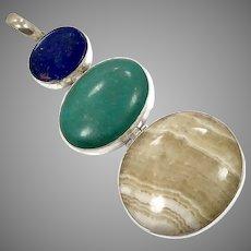 Lapis Pendant, Turquoise, Agate, Sterling Silver, Vintage Pendant, 3 1/2 Long, Big Stones, Large, Blue