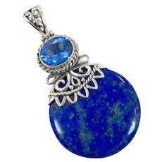 Lapis Pendant, Sterling Silver, Vintage Pendant, Blue Quartz, Blue Lapis Lazuli, Cobalt Blue, Big Stone, Large, Boho Jewelry, Blue Stone