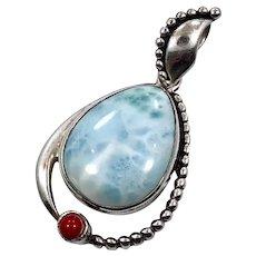 Larimar Pendant, Sterling Silver, Vintage Pendant, Big Stone, Blue Stone, Dolphin Stone, Boho Bohemian, Ethnic Tribal