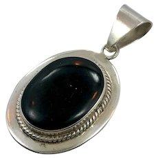 Black Onyx Pendant, Sterling Silver, Vintage Pendant, Taxco, Mexico, Onyx Pendant, Big Stone