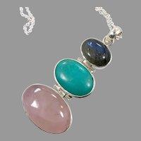 Rose Quartz Pendant, Labradorite, Turquoise, Sterling Silver, Vintage Pendant, Sterling Necklace, Large, Big