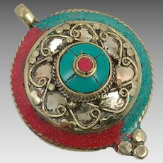 Turquoise Pendant, Red Coral, Tibetan Silver, Vintage Pendant, Large Big, Inlaid Stone, Nepal, Boho Statement, Bohemian Hippie, Ethnic