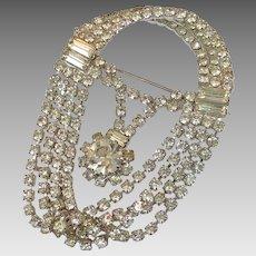 Rhinestone Pin, Brooch, Tammy Jewels, Vintage Pin, Art Deco Style, Clear Rhinestones, Signed, Silver Metal