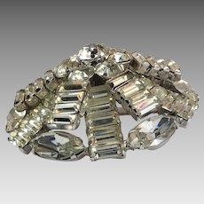 Rhinestone Pin, Kramer Of New York, Domed, Vintage Brooch, 1950s, 1960s, Designer, Silver, Clear Rhinestones