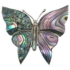 Butterfly Pin, Sterling Silver, Abalone Shell, Vintage Pin, Butterfly Brooch, Hencho, Mexico, Rainbow, Iridescent, Boho, Purple Shell