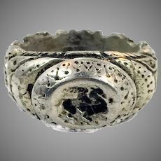 Afghan Ring, Vintage Kuchi, Size 8 1/2, Heavy Silver Metal, Gypsy, Nomadic, Middle Eastern, Unique, Boho, Bohemian