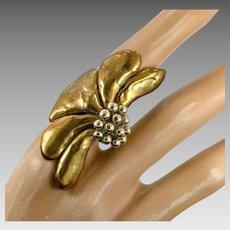 Brutalist Ring, Bronze Ring, Flower, Vintage Ring, Size 9, Poppy, Brass, Rare, Handcrafted, 1970s, 70s, Jack Boyd Era, Unique, Big, Long
