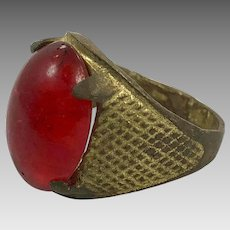 Red Kuchi Ring, Vintage Ring, Brass, Size 8 3/4, Heavy Patina, Afghan Ethnic, Gypsy, Signet Ring, Unisex Mens Mans, Boho Bohemian, Gypsy