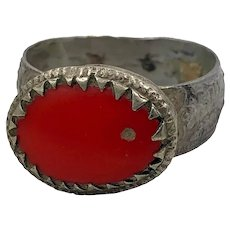 Red Kuchi Ring, Vintage Ring, Middle Eastern, Heavy Patina, Afghan Ethnic, Size 10 1/2, Gypsy Jewelry, Boho Bohemian