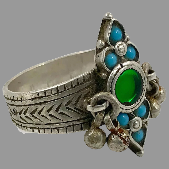 Middle Eastern Boho Jewelry Nomadic Vintage Ring Old Silver Ring Size 8 12 Afghan Ring Unisex Gypsy Red Glass Pakistan