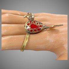 Bird Ring, Ethnic Ring,Kuchi Vintage Ring, Red Enameled, Turkmen Afghan, Statement Ring, Size 8 1/2, Boho Bohemian, Gypsy, Unique Unusual