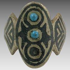Afghan Ring, Silver, Black Ring, Vintage Ring, Middle Eastern, Turquoise, Kuchi, Ethnic, Size 9, Boho Patina, Big, Large, Nomad, Old