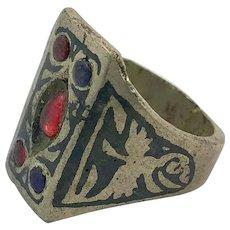 Afghan Ring, Jeweled, Silver, Black Ring, Vintage Ring, Kuchi, Ethnic, Size 9 1/2, Signet Ring, Mens, Boho, Patina, Big, Large, Nomad, Old
