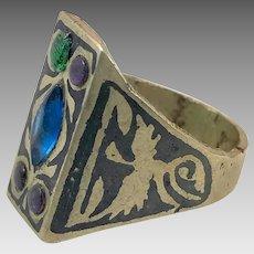 Afghan Ring, Silver, Black Ring, Jeweled, Vintage Ring, Kuchi, Ethnic, Blue, Mens, Size 11, Signet Ring