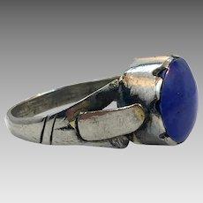 Lapis Ring, Kuchi Ring, Vintage Ring, Size 12, Afghan Ethnic, Silver Metal, Nomad, Turkmen, Middle Eastern, Mens Ring, Signet Style, Old