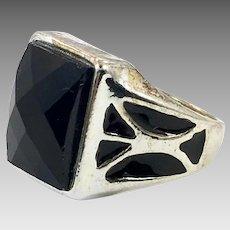 Afghan Ring, Black Glass Ring, Kuchi Ring, Size 9 1/4, Mens Ring, Signet Ring, Enameled,Nomadic, Ethnic, Tribal, Statement Ring