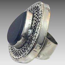 Black Kuchi Ring, Agate Aqeeq Stone, Gypsy, Size 6 1/2, Afghan Ring, Kazakh, Vintage Ethnic, Silver, Boho Bohemian, Big Festival Ring