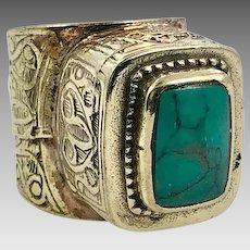 image 0 image 1 image 2 🔎zoom Green Jasper Ring, Middle Eastern, Vintage Ring, Size 9 1/2, Brass, Kuchi Ring, Afghan Ethnic, Nomad, Gypsy Jewelry, Statement Ring, Boho
