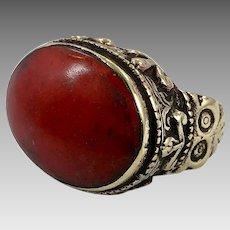 Afghan Ring, Red Orange Stone, Kuchi Ring, Vintage Ring, Brass, Ornate, Size 8, Nomadic, Ethnic, Signet, Tribal, Statement Ring, Unisex