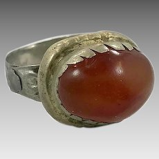 Carnelian Ring, Kuchi Ring, Vintage Ring, Middle Eastern, Heavy Patina, Afghan Ethnic, Size 9, Rustic, Old, Gypsy, Boho, Festival Jewelry