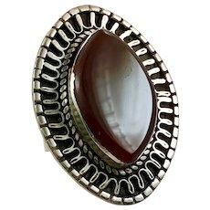 Carnelian Ring, Kuchi Ring, Gypsy, Vintage Ring, Size 8, Middle Eastern, Afghan Ring, Kazakh, Silver, Boho, Big, Large, Huge Massive