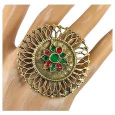 Gypsy Ring, Afghan Ring, Jeweled, Vintage Ring, Red, Green, Adjustable, Size 8, Middle Eastern, Kuchi, Filagree, Ethnic, Boho, Big, Large