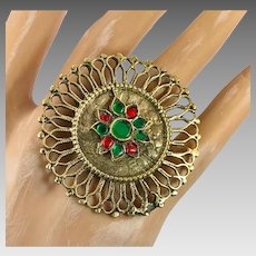 Gypsy Ring, Afghan Ring, Jeweled, Vintage Ring, Red, Green, Adjustable, Size 8, Middle Eastern, Kuchi, Filagree, Ethnic, Boho, Big, Large