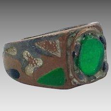 Green Kuchi Ring, Afghan Ethnic, Size 7 1/2, Gypsy Boho, Nomad, Belly Dance, Mens, Turkmen, Middle Eastern, Older Old, Antique, Patina