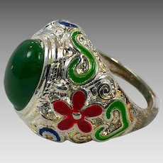 Afghan Ring, Kuchi Ring, Vintage Ring, Size 10, Green Glass, Silver Metal, Afghan Jewelry, Unisex Mens Ring, Ethnic Gypsy, Statement, Big