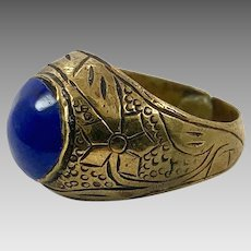 Lapis Ring, Afghan Ring, Vintage Ring, Size 8, Blue Stone, Kuchi Ring, Middle Eastern Jewelry, Signet Style